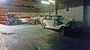 Saw the wedding cars in the garage